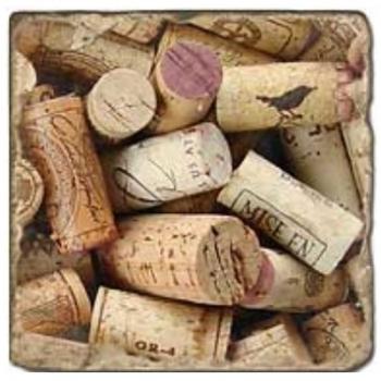 Marble Tile, Theme: Cork Stoppers B, antique finish, hanger, anti slip nubs, Dim.: l 20 x w 20 x h 1 cm