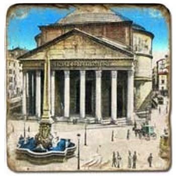 Marble Tile, Theme: Ancient Rome C, antique finish, hanger, anti slip nubs, Dim.: l 20 x w 20 x h 1 cm