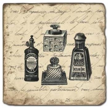 Marmorfliese, Motiv: Kalligraphie B,  Antikfinish,  Aufhängeöse, Antirutschfüßchen., Maße: L 20 x B 20 x H 1 cm