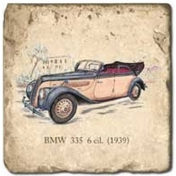 Marble Tile, Theme: Classic Cars C, antique finish, hanger, anti slip nubs, Dim.: l 20 x w 20 x h 1 cm