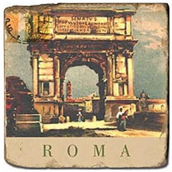 Carrelage en marbre, motif ville italienne A, finition antique, illet pour l'accroche, pieds antidérapants, L 20 xl 20 x h 1 cm