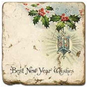 Carrelage en marbre, motif Noël B, finition antique, illet pour l'accroche, pieds antidérapants, L 20 xl 20 x h 1 cm