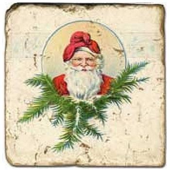 Carrelage en marbre, motif Noël D, finition antique, illet pour l'accroche, pieds antidérapants, L 20 xl 20 x h 1 cm