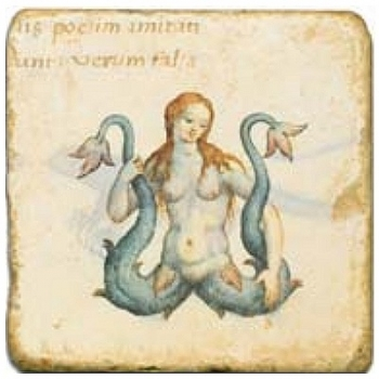 Marble Tile, Theme: Mythical Creatures 1 B, antique finish, hanger, anti slip nubs, Dim.: l 20 x w 20 x h 1 cm
