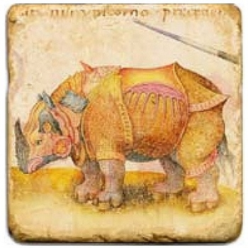 Marble Tile, Theme: Mythical Creatures 1 C, antique finish, hanger, anti slip nubs, Dim.: l 20 x w 20 x h 1 cm