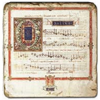Marble Tile, Theme: Sheets of Music C, antique finish, hanger, anti slip nubs, Dim.: l 20 x w 20 x h 1 cm