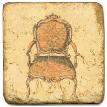 Carrelage en marbre, motif chaise ancienne C, finition antique, illet pour l'accroche, pieds antidérapants, L 20 xl 20 x h 1 cm