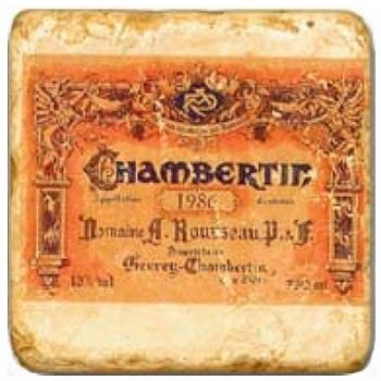 Marmorfliese, Motiv: Französische Weine 2 B,  Antikfinish,  Aufhängeöse, Antirutschf., Maße: L 20 x B 20 x H 1 cm