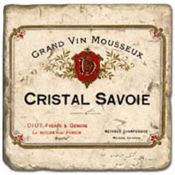 Marble Tile, Theme: Champagne Labels D, antique finish, hanger, anti slip nubs, Dim.: l 20 x w 20 x h 1 cm
