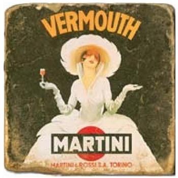 Marble Tile, Theme: Liquor Labels A, antique finish, hanger, anti slip nubs, Dim.: l 20 x w 20 x h 1 cm
