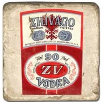 Carrelage en marbre, motif vodka A, finition antique, illet pour l'accroche, pieds antidérapants, L 20 xl 20 x h 1 cm