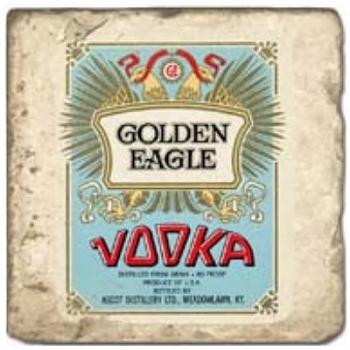 Marble Tile, Theme: Vodka Labels B, antique finish, hanger, anti slip nubs, Dim.: l 20 x w 20 x h 1 cm