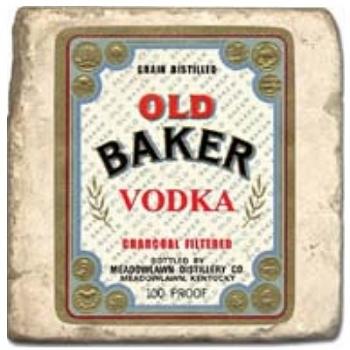 Marble Tile, Theme: Vodka Labels D, antique finish, hanger, anti slip nubs, Dim.: l 20 x w 20 x h 1 cm