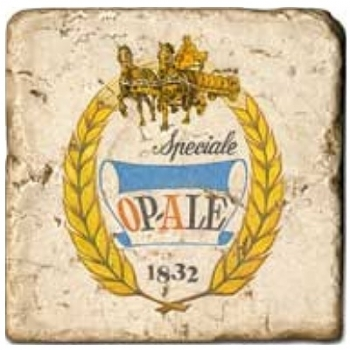 Carrelage en marbre, motif bière 1A, finition antique, illet pour l'accroche, pieds antidérapants, L 20 xl 20 x h 1 cm