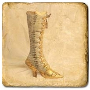 Marble Tile, Theme: Chaussures C, antique finish, hanger, anti slip nubs, Dim.: l 20 x w 20 x h 1 cm
