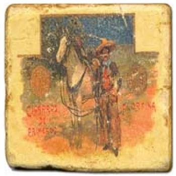 Marble Tile, Theme: Cigar Labels 1 D, antique finish, hanger, anti slip nubs, Dim.: l 20 x w 20 x h 1 cm
