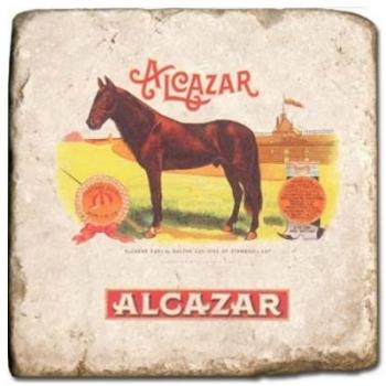 Carrelage en marbre, motif marques de cigares 2C, finition antique, illet pour l'accroche, pieds antidérapants, L 20 xl 20 x h 1 cm