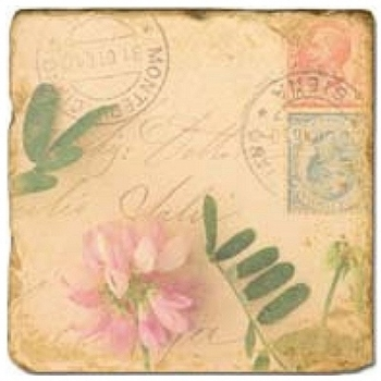 Marble Tile, Theme: Love Letters 1 A, antique finish, hanger, anti slip nubs, Dim.: l 20 x w 20 x h 1 cm