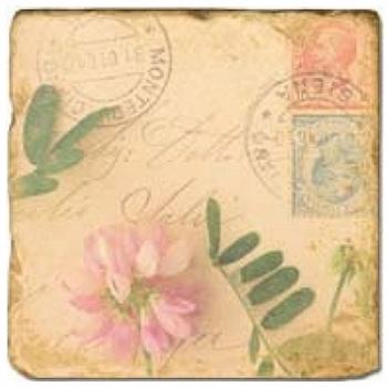 Marmorfliese, Motiv: Blütenbriefe 1 A,  Antikfinish,  Aufhängeöse, Antirutschfüßchen, Maße: L 20 x B 20 x H 1 cm