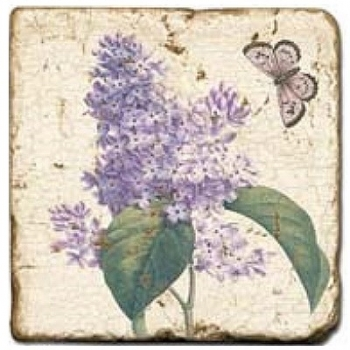 Marble Tile, Theme: Blossoms and Butterflies B, antique finish, hanger, anti slip nubs, Dim.: l 20 x w 20 x h 1 cm