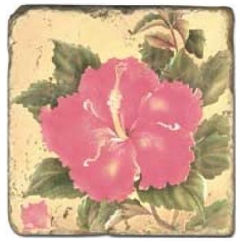 Carrelage en marbre, motif fleurs exotiques A, finition antique, illet pour l'accroche, pieds antidérapants, L 20 xl 20 x h 1 cm