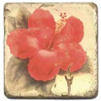 Marble Tile, Theme: Tropical Flowers C, antique finish, hanger, anti slip nubs, Dim.: l 20 x w 20 x h 1 cm
