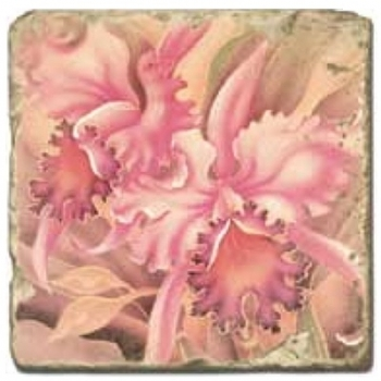 Marble Tile, Theme: Tropical Flowers D, antique finish, hanger, anti slip nubs, Dim.: l 20 x w 20 x h 1 cm