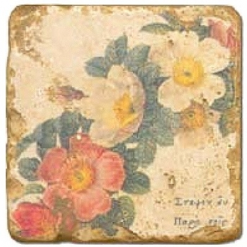 Marble Tile, Theme: Floral Wreath A, antique finish, hanger, anti slip nubs, Dim.: l 20 x w 20 x h 1 cm