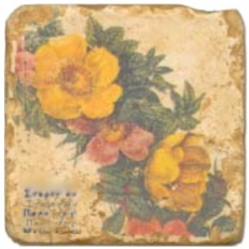 Marble Tile, Theme: Floral Wreath B, antique finish, hanger, anti slip nubs, Dim.: l 20 x w 20 x h 1 cm