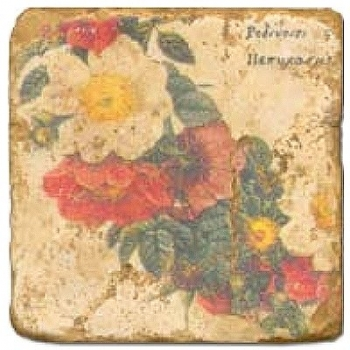 Marble Tile, Theme: Floral Wreath D, antique finish, hanger, anti slip nubs, Dim.: l 20 x w 20 x h 1 cm