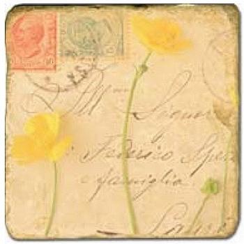 Carrelage en marbre, motif fleur et lettre 1C, finition antique, illet pour l'accroche, pieds antidérapants, L 20 xl 20 x h 1 cm