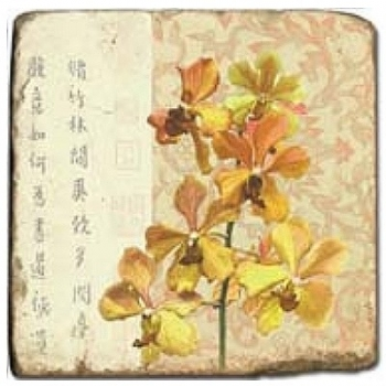 Marble Tile, Theme: Blooming Branches C, antique finish, hanger, anti slip nubs, Dim.: l 20 x w 20 x h 1 cm