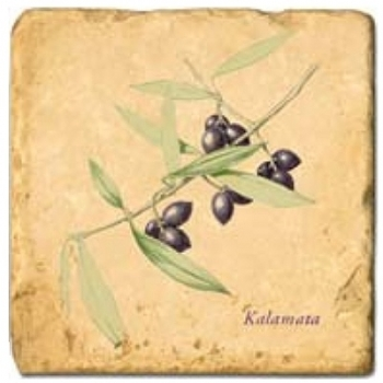 Marble Tile, Theme: Olive Branches B, antique finish, hanger, anti slip nubs, Dim.: l 20 x w 20 x h 1 cm