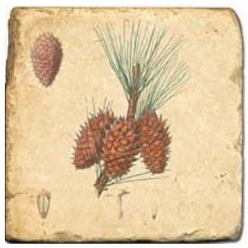 Carrelage en marbre, motif pommes de pin B, finition antique, illet pour l'accroche, pieds antidérapants, L 20 xl 20 x h 1 cm