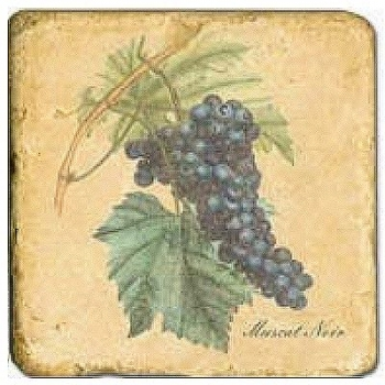 Marble Tile, Theme: Grapes 1 B, antique finish, hanger, anti slip nubs, Dim.: l 20 x w 20 x h 1 cm