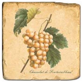 Marmorfliese, Motiv: Trauben 1 C,  Antikfinish,  Aufhängeöse, Antirutschfüßchen, Maße: L 20 x B 20 x H 1 cm