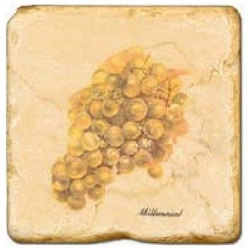 Carrelage en marbre, motif raisins 2A, finition antique, illet pour l'accroche, pieds antidérapants, L 20 xl 20 x h 1 cm