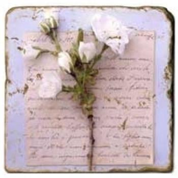 Marble Tile, Theme: Love Letters 2 A, antique finish, hanger, anti slip nubs, Dim.: l 20 x w 20 x h 1 cm