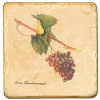 Carrelage en marbre, motif raisins 2B, finition antique, illet pour l'accroche, pieds antidérapants, L 20 xl 20 x h 1 cm