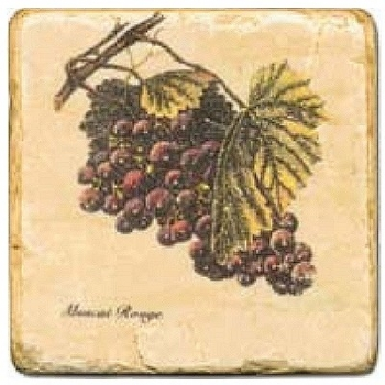 Marble Tile, Theme: Grapes 2 C, antique finish, hanger, anti slip nubs, Dim.: l 20 x w 20 x h 1 cm