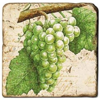 Carrelage en marbre, motif raisins 3A, finition antique, illet pour l'accroche, pieds antidérapants, L 20 xl 20 x h 1 cm