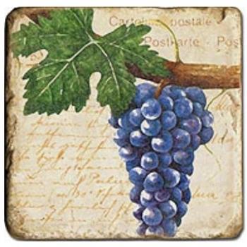 Carrelage en marbre, motif raisins 3B, finition antique, illet pour l'accroche, pieds antidérapants, L 20 xl 20 x h 1 cm