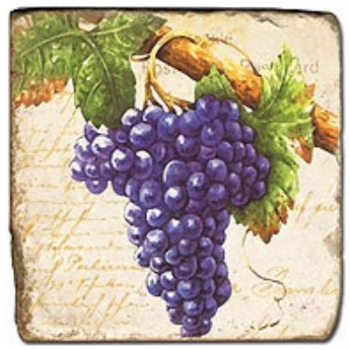 Marble Tile, Theme: Grapes 3 D, antique finish, hanger, anti slip nubs, Dim.: l 20 x w 20 x h 1 cm