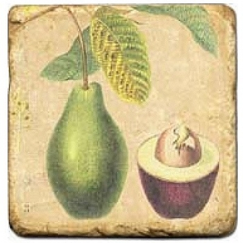 Carrelage en marbre, motif fruits tropicaux D, finition antique, illet pour l'accroche, pieds antidérapants, L 20 xl 20 x h 1 cm