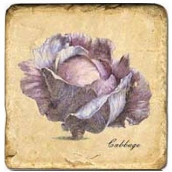 Carrelage en marbre, motif légume 1B, finition antique, illet pour l'accroche, pieds antidérapants, L 20 xl 20 x h 1 cm