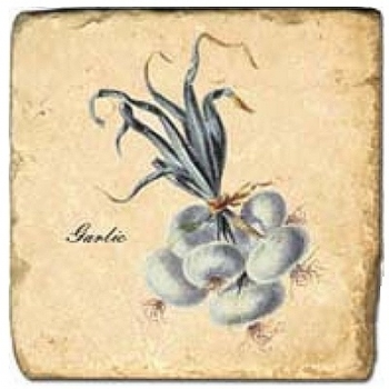 Carrelage en marbre, motif légume 1D, finition antique, illet pour l'accroche, pieds antidérapants, L 20 xl 20 x h 1 cm