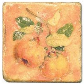 Marble Tile, Theme: Fruit Mix B, antique finish, hanger, anti slip nubs, Dim.: l 20 x w 20 x h 1 cm