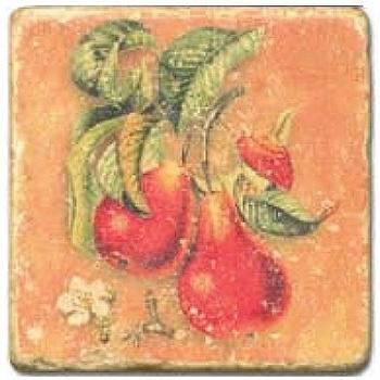Marble Tile, Theme: Fruit Mix C, antique finish, hanger, anti slip nubs, Dim.: l 20 x w 20 x h 1 cm