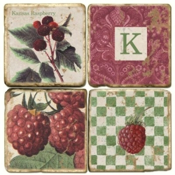 Marble Coasters, set of 4, illustration theme with Monogram K, antique finish, cork backed, l 10 x w 10 x h 1 cm