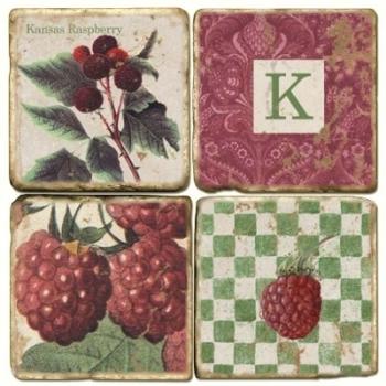 Marmor Untersetzer 4er Set, Motivserie mit Monogramm K, Antikfinish, Kork-Rückseite, Maße: L 10 x B 10 x H 1 cm